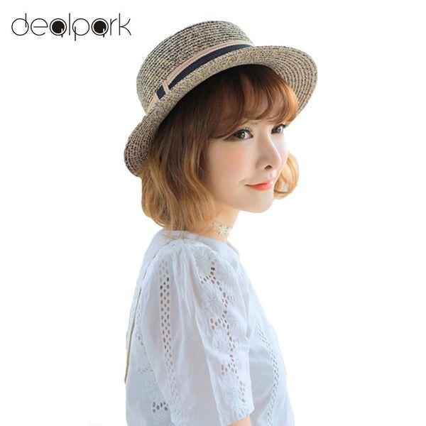 boys summer fedora straw hat Promo Codes - New Fashion Elegant Women Straw  Hat Ribbon Trim 0f596e18b230