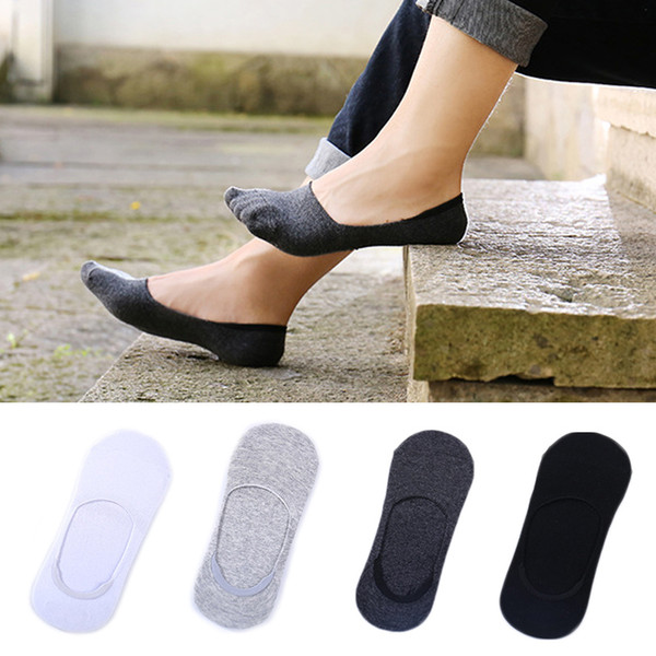 Wholesale- 3 Pairs/Lot Men Invisible Socks Unisex Low Cut Ankle Socks Men Male Casual Soft Cotton Non-slip Silicone Boat Sock meia
