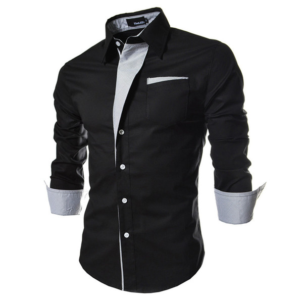 New Solid Men's Dress Shirts Slim Fit Vintage Long Sleeve Single-breasted Fashion Casual Clothing Men Trendy Shirts Tops M-3XL