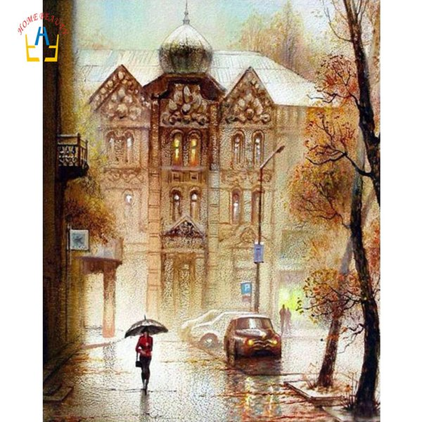 Oil paintings draw pictures by numbers on canvas rain landscape nordic wall art painting for living room home decoration WYA048