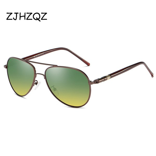 cc1e315341882 ZJHZQZ Mens Polarizada Noite Condução Óculos De Sol Dos Homens Designer De  Marca Lente Amarela Óculos