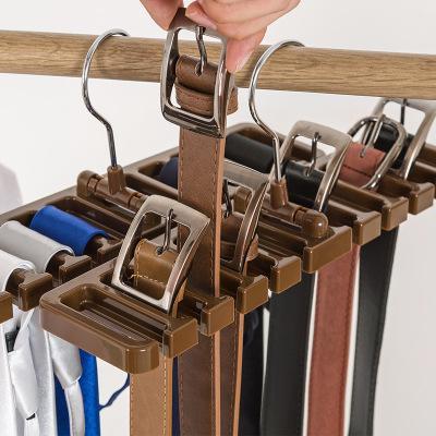 Sturdy Plastic Tie Belt Scarf Rack Holders Organizer Closet Wardrobe Space Saver Belt Hanger with Metal Hook 10 slots