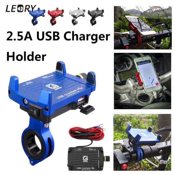 Motorcycle Phone Holder USB Fast Charing Charger Holder Stand for Electric Motorbike Mountain Bike Holder for 3.5''-6.2'' Phone C18110801