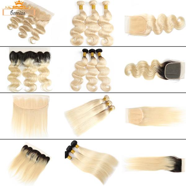 Bemiss Hair® Brasileira Onda Do Corpo 613 Cabelo Humano Loiro Feixes com Fechamento Não Processado Virgem Cabelo Liso 1b 613 Pacotes com Frontal