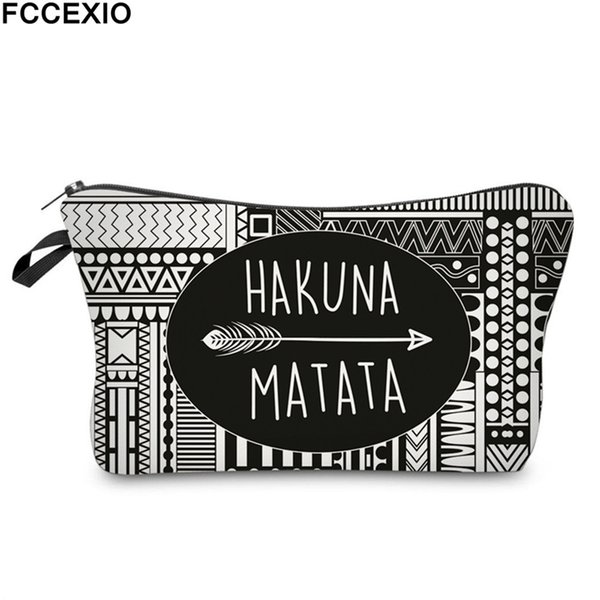 FCCEXIO New Makeup Bags 4 Colors Hakuna Matata Pattern Fashion Cosmetics Pouchs For Travel Ladies Pouch Women Cosmetic Bags