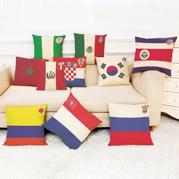 Linen Pillow Case Cover World Soccer Cup Pillowcases National Flag Cushion Cover Throw Pillow Cases for Sofa Chair Back Seat Home Decor