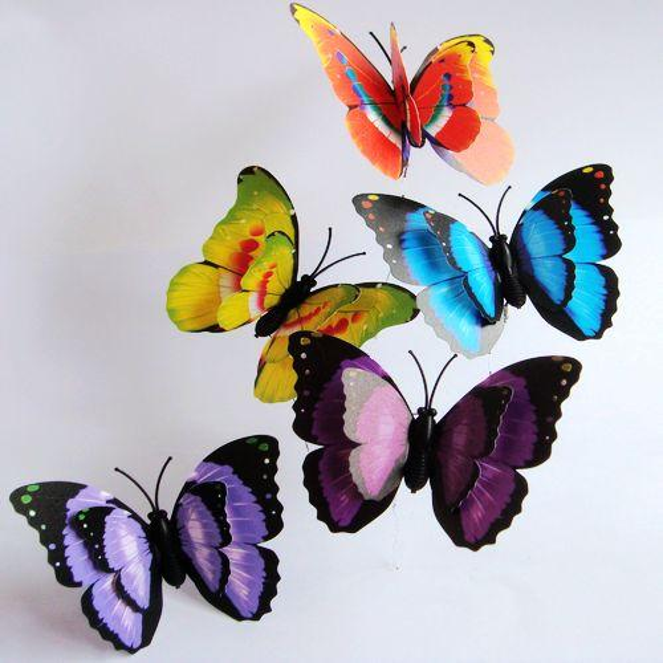 50 Adet / grup 3D Mıknatıs Çift Kelebekler Dolabı Magnet DIY Duvar Sticker Ev Dekor düğün süslemeleri boyutu 8 cm