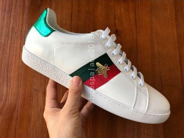 Italie 2018 Marque Nouvelle Personnalité De Luxe Marques Hommes Femmes Casual Baskets En Cuir Blanc Sneaker Chaussures De Marche Avec La Boîte