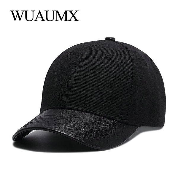 Оптовая высокого качества летние шляпы для женщин черный бейсболка мужчины искусственная кожа Brim кости Snapback хип-хоп Cap для мужчин Casquette