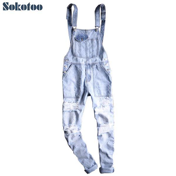Sokotoo Men's plus size light blue ripped denim slim fit bib overalls Casual holes distressed jumpsuits Jeans pants