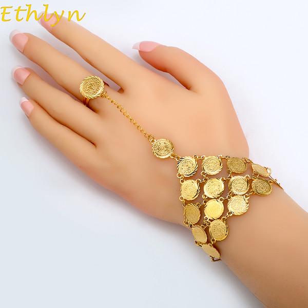 Bracciale monete Ethlyn per le donne Islam arabo moneta araba Denaro segno colore oro gioielli mediorientale braccialetto moneta in metallo B017