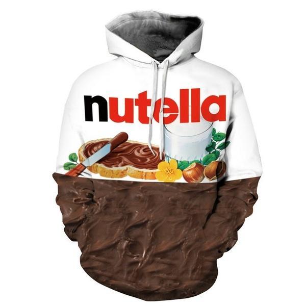 Fashion Women Men 3d Galaxy Sweatshirts Nutella Spoof Fun Lifelike Food Chocolate Sauce Harajuku Loose Hoodies