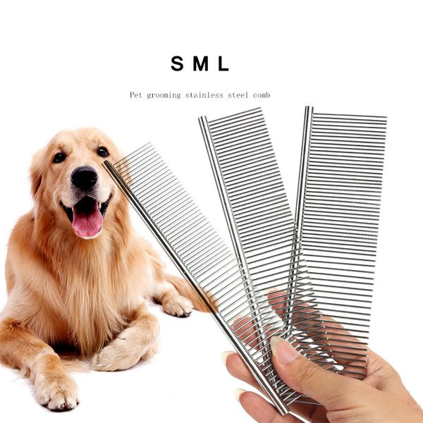 S/M/L Stainless Steel Pet Double Row Comb For Puppy Dog Cat Long Hair Shedding Lice Rake Grooming Brush AAA958