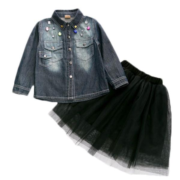 Девушки осень набор Алмаз джинсовая рубашка + пряжа юбка 2 шт костюм мода куртка детская прохладный уличный стиль съемки INS