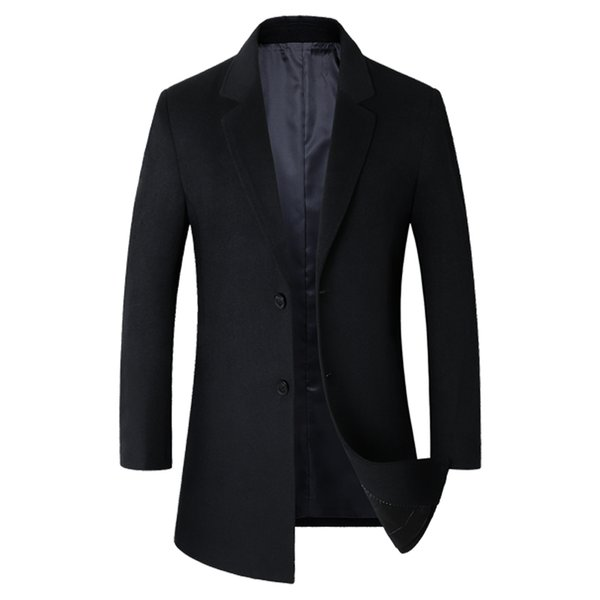 Mens Winter New British Stylish Silm fit Wool Overcoat Brand-clothing High Quality Long Wool Trench Coat For Men