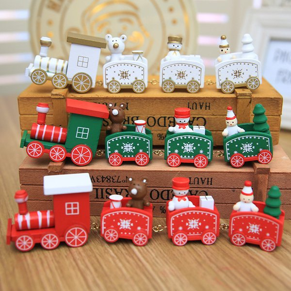 Christmas Train Painted Wood with Santa/Bear Xmas Kids Toys Gift Ornament Navidad Christmas Decoration for Home New Year Gifts