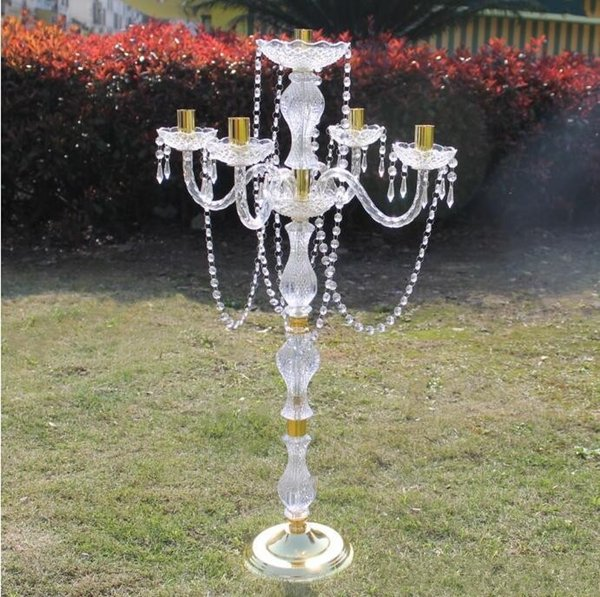 new product elegant 90cm height Acrylic 5 arms wedding candelabras with crystal pendants silver and gold color plated candelabra