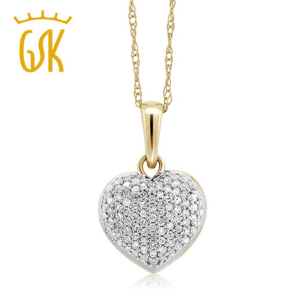 GemStoneKing 10K bicolore 0.15 CTW diamante bianco 10mm a forma di cuore collana con pendente 10K catena d'oro per le donne