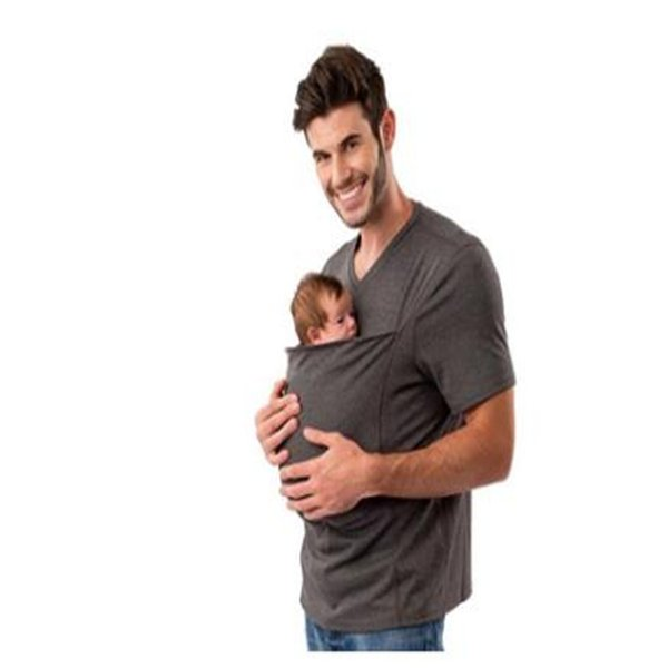 Baby Carrier Padre Uomo T-Shirt Causale Sling Kangaroo multifunzione in cotone a manica corta T-shirt Papà Baby Tee Shirt