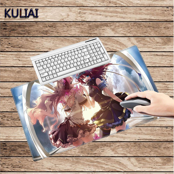 KULIAI Large Anime Girl Game Mouse Pad Rubber Slip Fast Moving Gaming Bluetooth Keyboard Computer Accessories Mouse Player Mats
