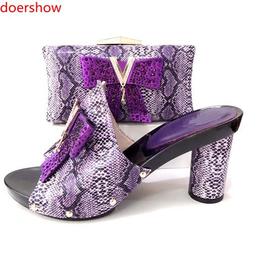 2018 Hot Selling Rhinestone Black Color Shoes And Bag Sets African Style High Heels Ladies Shoes And Bag Set For Party Dress !HJ1-13