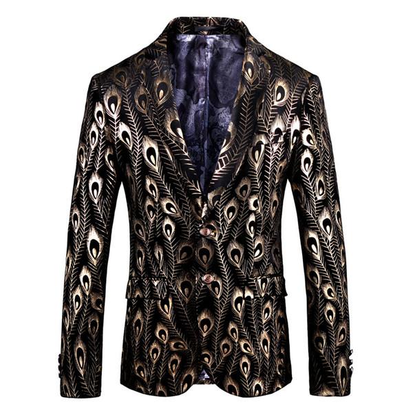 Luxury Gold Black Velvet Blazer Hombre Baroque Fancy Prom Wedding Slim Fit Blazer Masculino Plus Size 5xl Suit Jacket Men