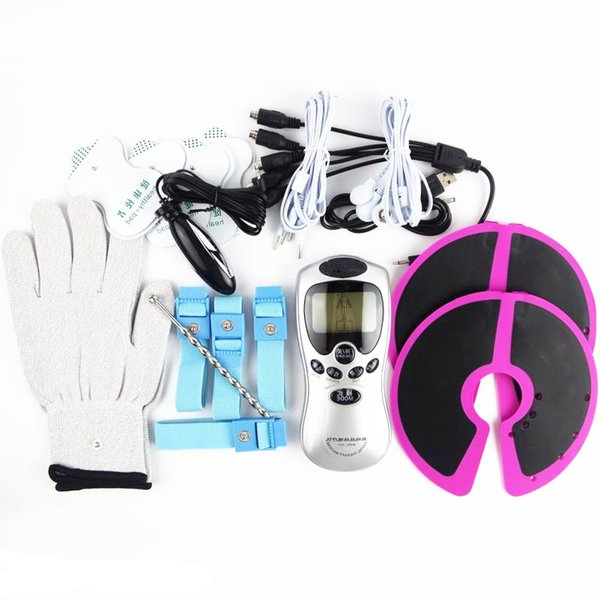 6 in 1 Electro Shock Bondage Kits Estim Stimulation Penis Cock Ring Breast Massager Gloves Anal Urethra Plug BDSM Sex Play Toys For Couples