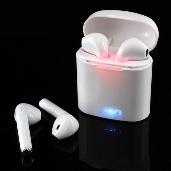 top popular I7 I7S TWS Twins Bluetooth Earbuds Mini Wireless Earphones Headset with Mic Stereo V4.2 Headphone for IphoneX Android sansumg with box 2019