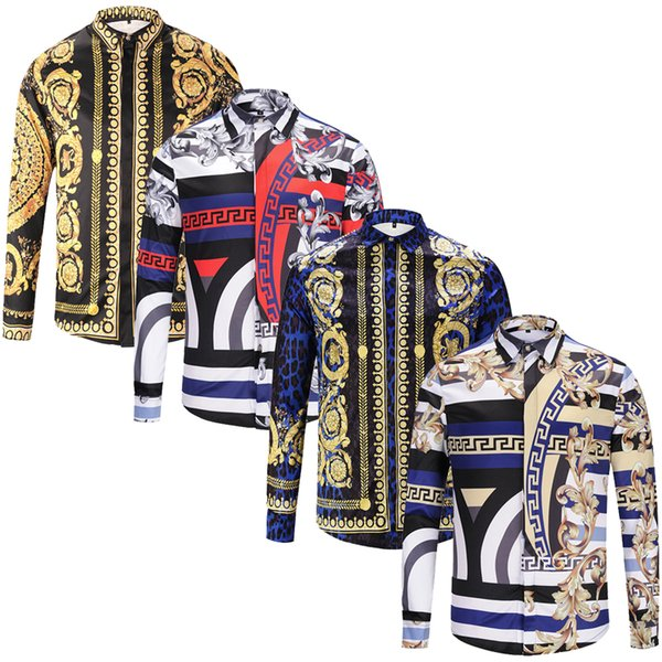 Fashion Designer Slim Fit Shirts Men 3D Medusa Black Gold Floral Print Mens Dress Shirts Long Sleeved Business Casual Shirts Males Clothes