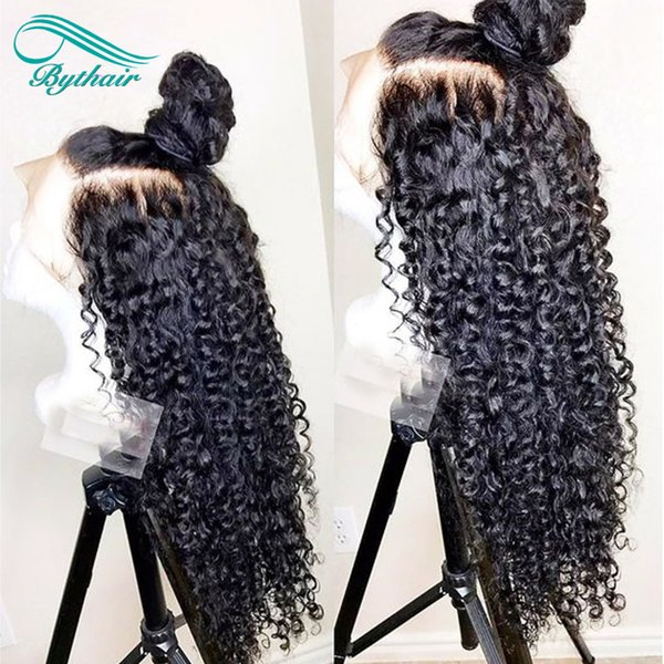 Bythair Deep Curly Lace Front Human Hair Wigs Pre Plucked Hairline Brazilian Virgin Hair Full Lace Wig With Baby Hair Natural Color