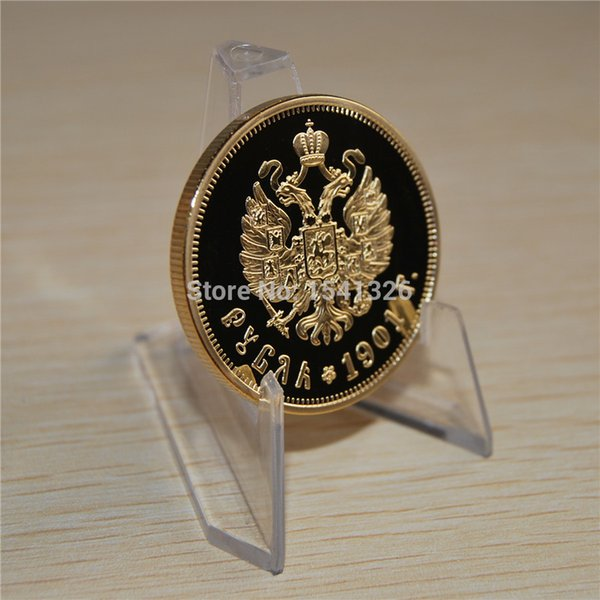 1901 Russia Nicholas II of Russia II Ruble Gold Plated Commemorative Coin With Acrylic Case Cover