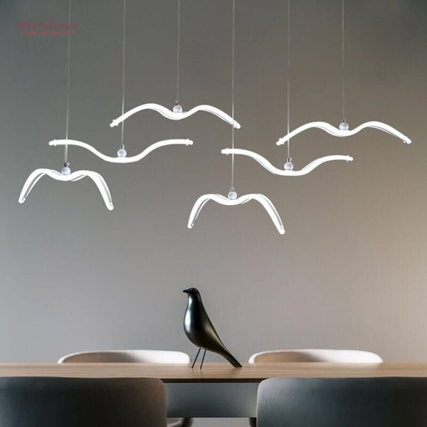 Neuheit led Pendelleuchte für Küche Esszimmer Weiße Pendelleuchte für Kaffee Haus Schlafzimmer Suspension Seagull Lampenbefestigungen