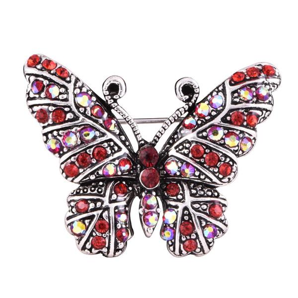 Nuovi arrivi Spille da donna Spilla a forma di farfalla in argento con zirconi rossi