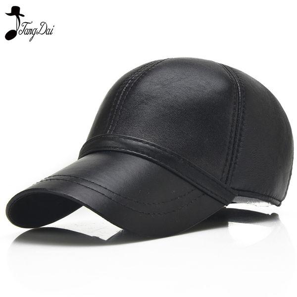 2018 New Genuine Leather Sheepskin Baseball Cap Adult Autumn and Winter Leisure Hat Elderly Adjustable Black Cap