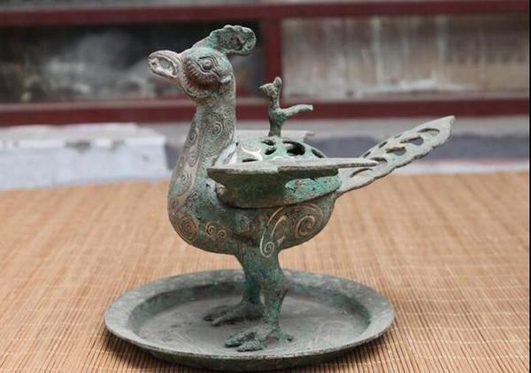 Chinese Dynasty old Bronze Silver-Gilt Suzaku Phoenix Bird incense burner censer