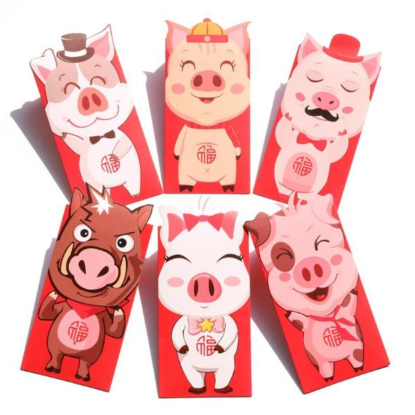 8.9x18.8cm novelty cartoon pig red envelopes animal red envelope chinese new year red envelope christmas gifts