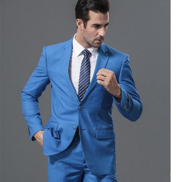 New Popular Design Two Buttons Blue Wedding Groom Tuxedos Notch Lapel Groomsmen Mens Dinner Blazer Suits (Jacket+Pants+Tie) 646