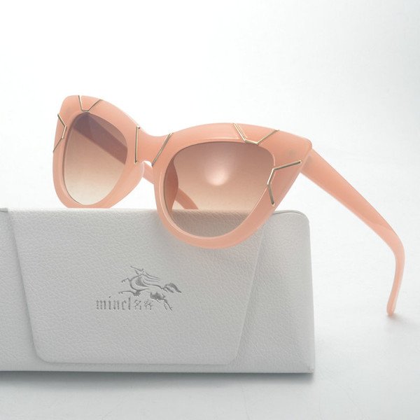 MINCL/ Europe and the United States new retro metal mosaic sunglasses sexy cat lady sunglasses FML