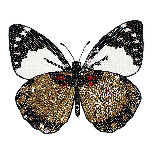 1PCS New Butterfly Patch T-shirt Pants Sequins Ironning On Patch Sewing Holes Applique Clothes Decorative Accessories