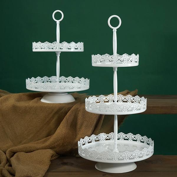 Lado do laço de ferro forjado carrinho de bolo adereços de casamento Europeu de três camadas lanche suporte de metal placa de bolo multi-camada de prateleira de ferro 10 pcs