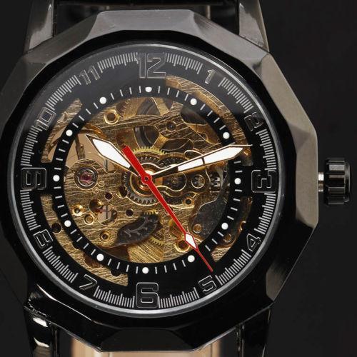 Nuovo orologio da uomo in acciaio inossidabile a carica automatica con design speciale in scheletro