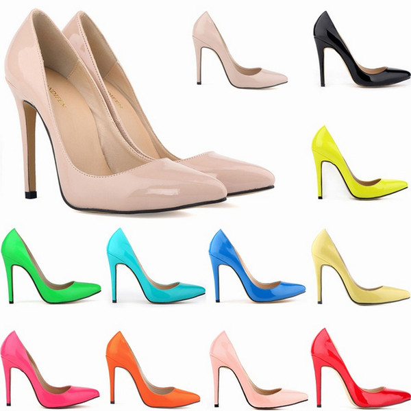 best selling Women Sexy high heels Pointed toe Pumps office shoes Patent leather Party shoes US Size 4-11 D0117