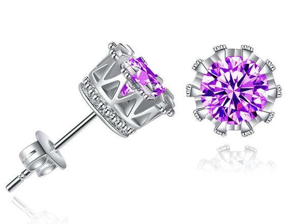 Band New Crown Wedding Stud Earring 2018 New 925 Sterling Silver CZ Simulated Diamonds Engagement Beautiful Jewelry Crystal Ear Rings DHL