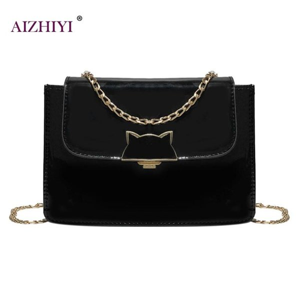 Casual Cute Women Messenger Handbags Ladies New Patent Leather Bag Girls Fashion Hasp Solid Color Shoulder Crossbody Chain Bags
