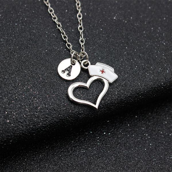 26 Letters Prayer Heart Nurse Cap Pendant Necklace Doctor Nursing Graduation Creative Gift Memorial Choker Personalized Necklace