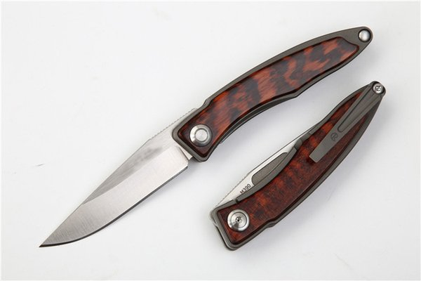 New M390 Steel CR EDC Pocket Folding Knife Satin Finish Blade TC4 Titanium Alloy + Snake Wood Handle Best Gift knives EDC Gear