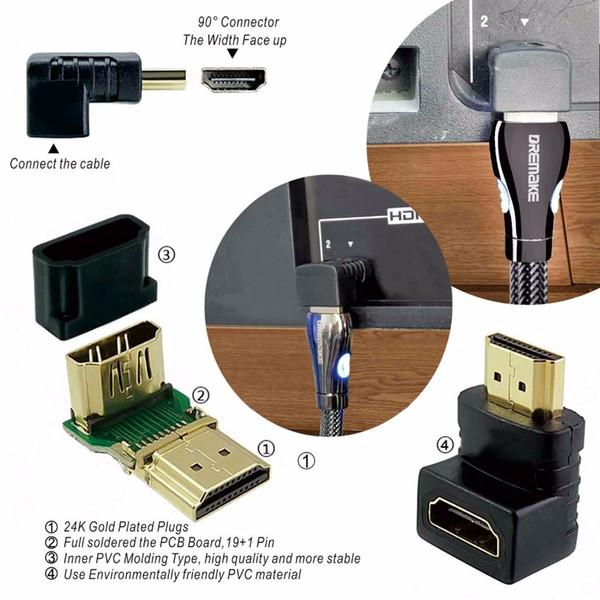 DREMAKE HDMI 1.4 4 K 3D 1080 P HDMI Kablosu Led Işık Ile Kablolu altın Kaplama Çinko Alaşım 3FT 6FT TV için 10FT 15FT Projektör
