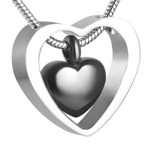 Cuore Collana in acciaio inox IJD8078 cremazione Double Black per Ashes Urn Keepsake Memorial Pendente con gioielli