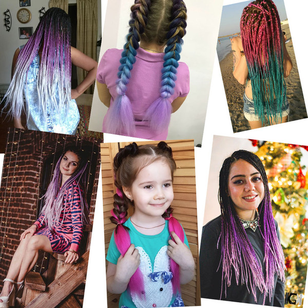 top popular VERVES synthetic braiding hair colors 100g bundle multi colored hairpieces african hair braids for woman xpression two tone 2019