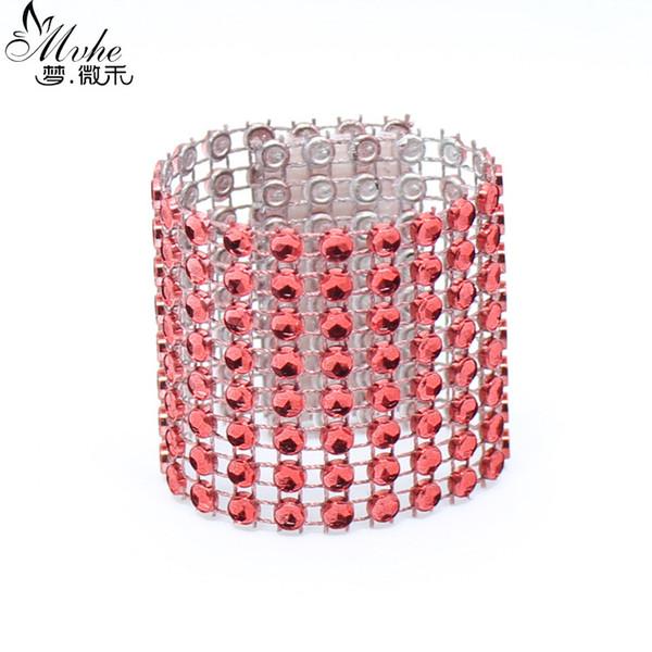 50 Pcs\lot Handmade Red Eco-Friendly Napkin Ring Plastic Rhinestone Wrap Napkin Buckle For Wedding Home Hotel Table Decoration